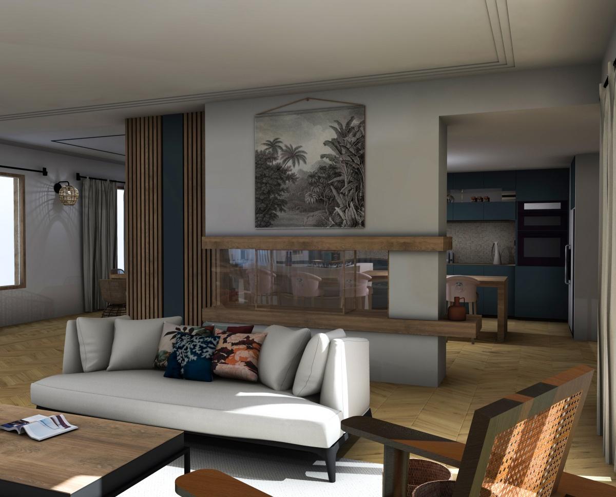 Appartement Bordeaux : vue salon cuisine