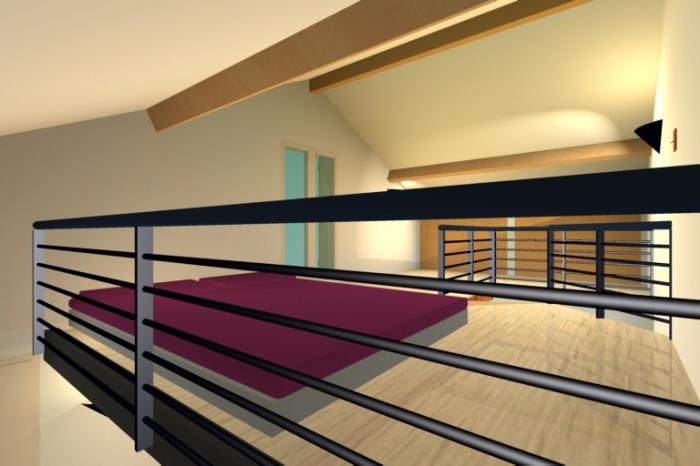 Réhabilitation d'un garage : vue 3D de la chambre (mezzanine)