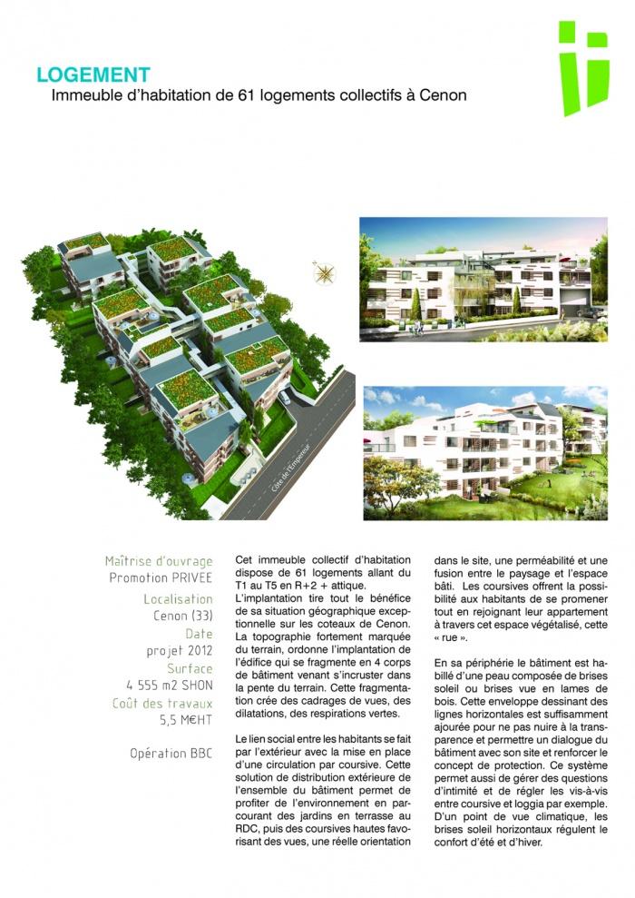 Immeuble d'habitation de 61 logements collectifs