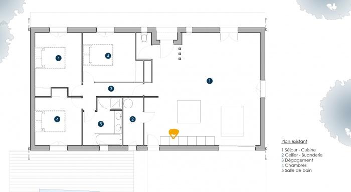 Extension Maison P : PLAN PESSAC EXISTANT