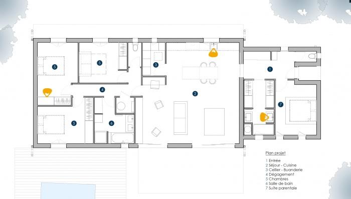 Extension Maison P : PLAN PESSAC PROJET