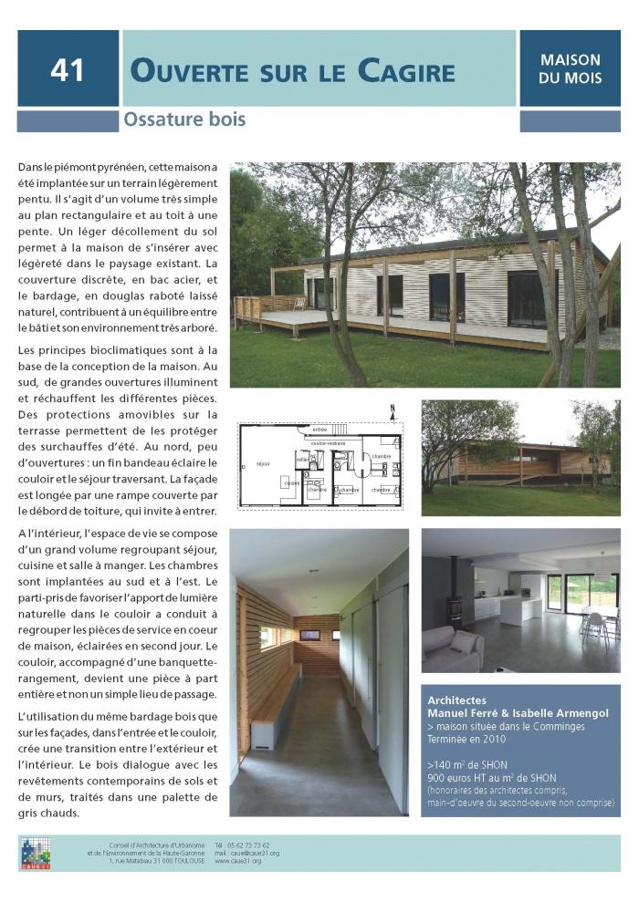 Maison individuelle à ossature bois BBC : FICHE CAUE