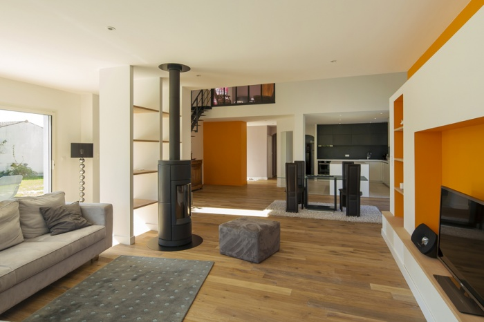 Extension et réaménagement d'une maison d'habitation : vue intérieure 1